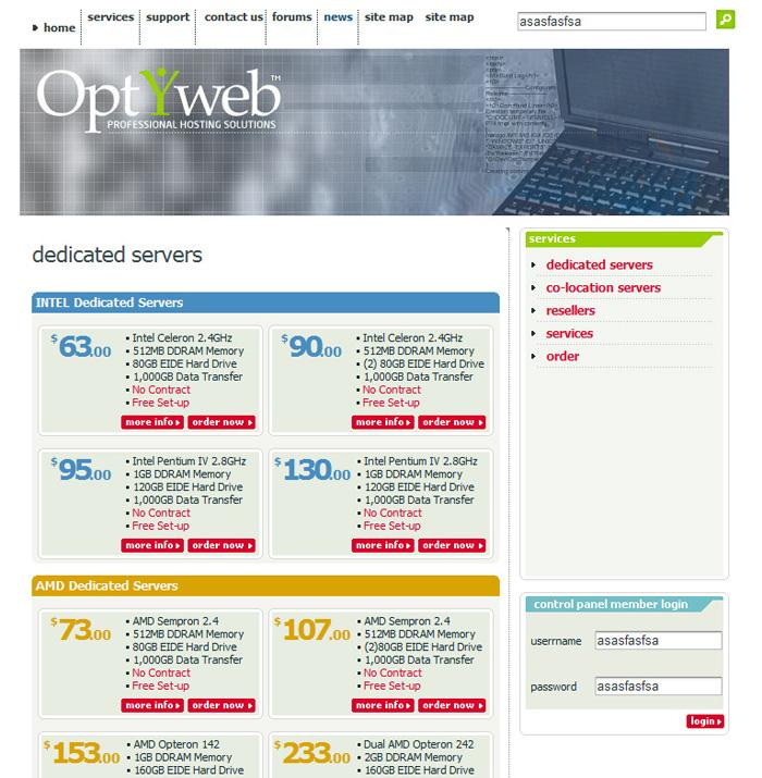 Сайт хостинг провайдера «Optyweb»